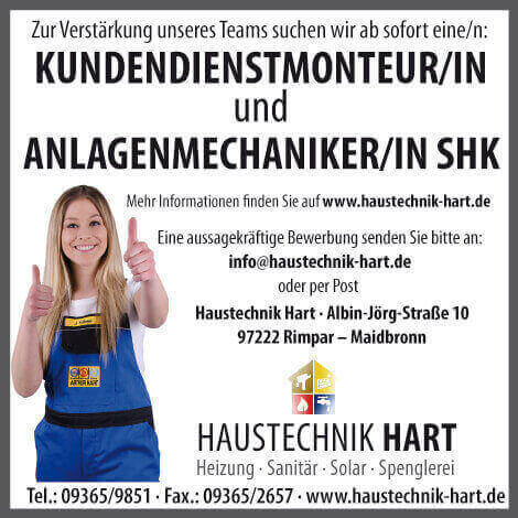 Kundendienstmonteur, Stellenanzeige, Anlagenmechaniker, Würzburg