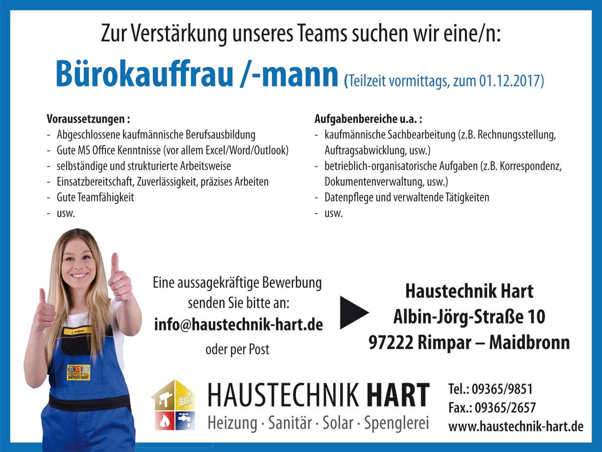 Bürokaufmann, Stellenanzeige, Bürokauffrau, Würzburg